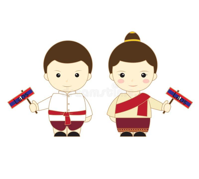 老挝动画片东南亚国家联盟 库存例证
