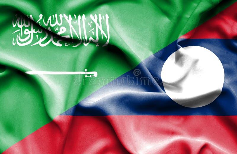 老挝和沙特阿拉伯的挥动的旗子 向量例证