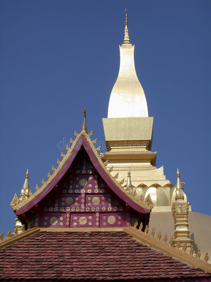 老挝屋顶寺庙 库存图片