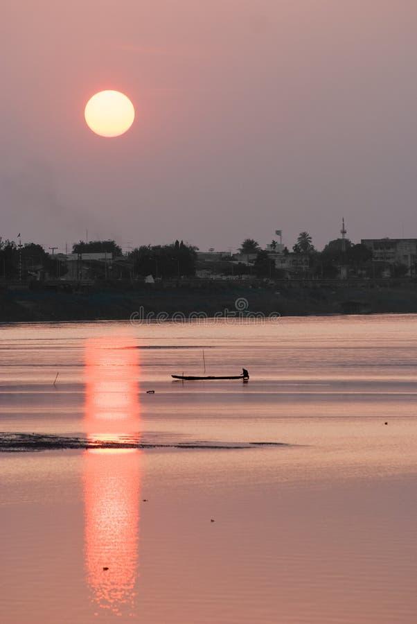 老挝湄公河日落 库存图片