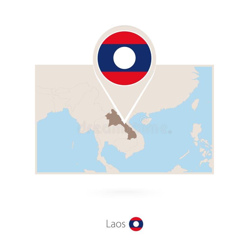 老挝的长方形地图有老挝的别针象的 向量例证