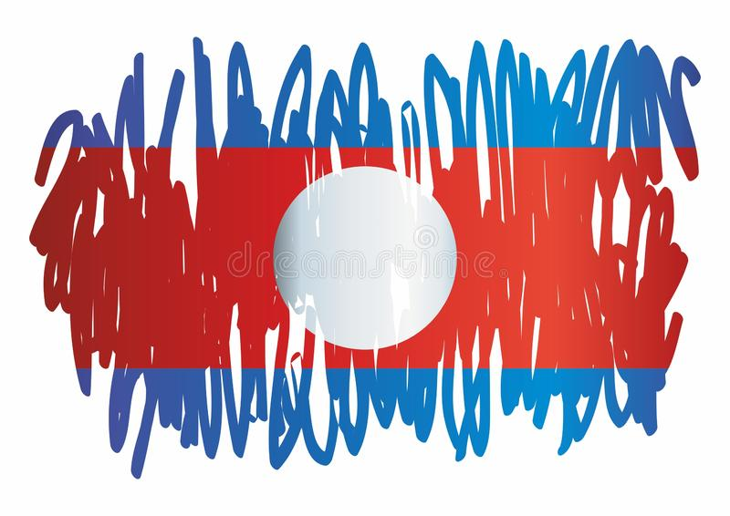 老挝,老挝人民民主共和国的旗子 奖设计的模板,与老挝的旗子的一公文 皇族释放例证