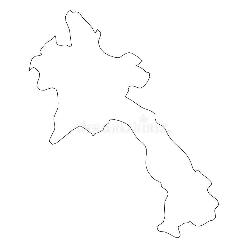 老挝-国家区域坚实黑概述边界地图  简单的平的传染媒介例证 皇族释放例证