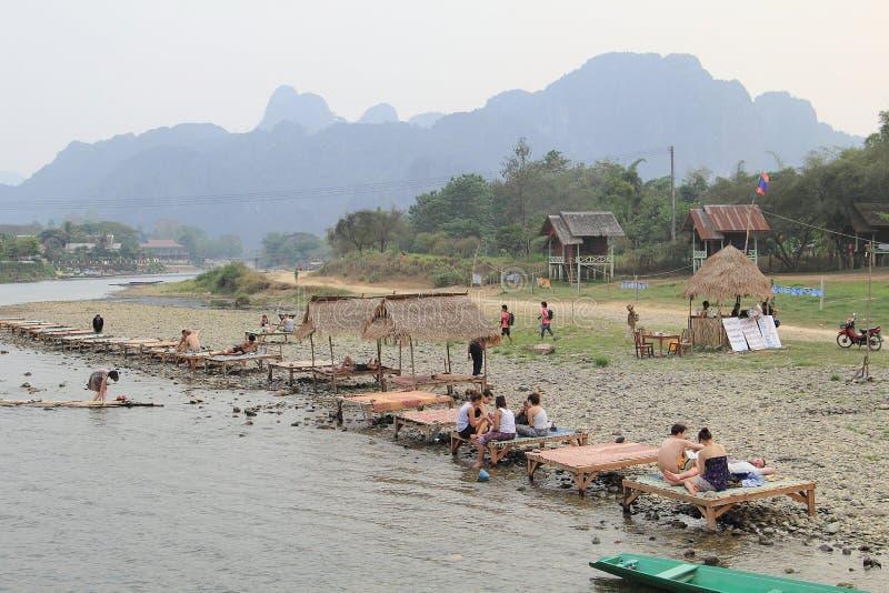 老挝vang vieng 图库摄影