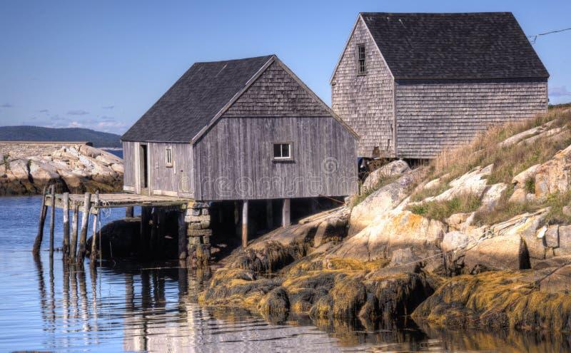 老捕鱼居住,佩吉的小海湾,新斯科舍 免版税图库摄影