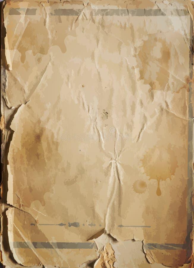 老损坏的古色古香的纸纹理,传染媒介背景 库存例证