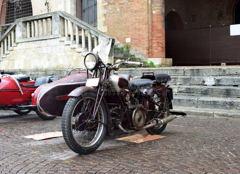 老摩托车陈列,里米尼,意大利 库存照片