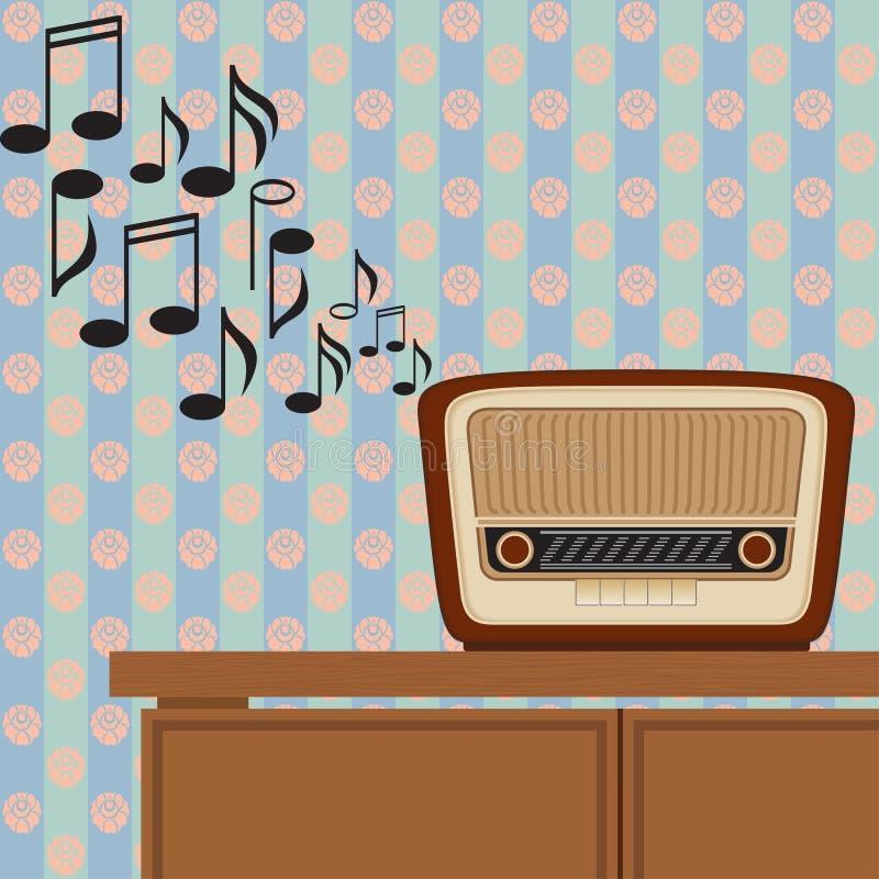 老收音机演奏音乐 向量例证