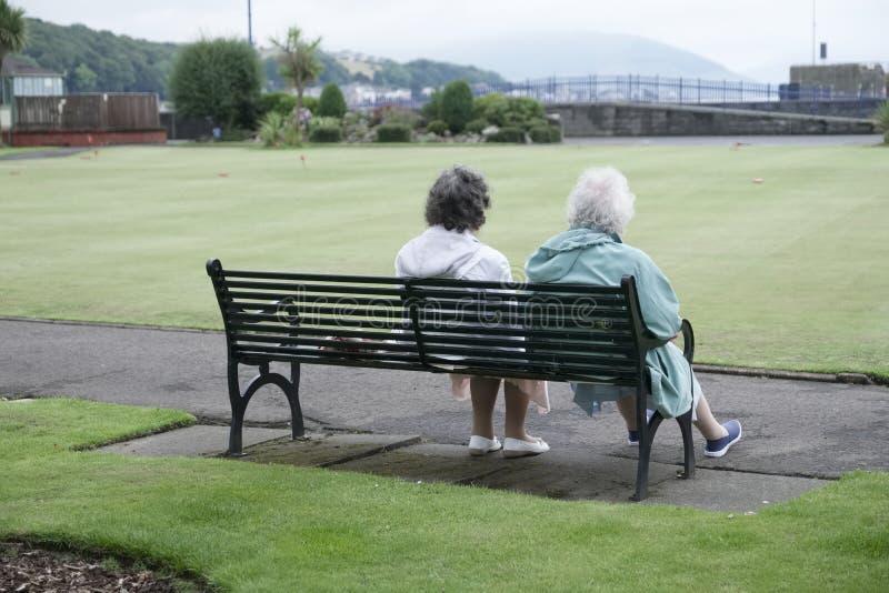 老放松户外Rothesay的夫妇资深妇女公园长椅夏天爱 免版税库存图片