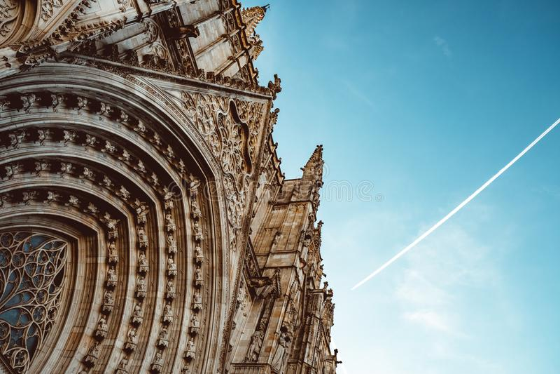 老教会在巴塞罗那哥特区  r 图库摄影