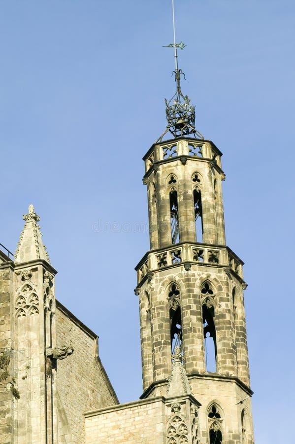 老教会在老巴塞罗那在Barri Gotic地区,哥特式处所,西班牙 库存图片