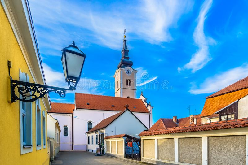 老教会在Krizevci,克罗地亚 免版税图库摄影