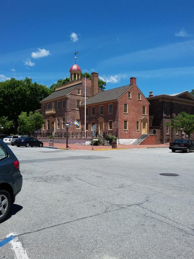老新的城堡的,特拉华老法院大楼 库存图片
