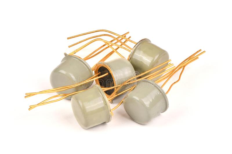 老无线电组分,有用金子报道的联络的半导体晶体管 图库摄影