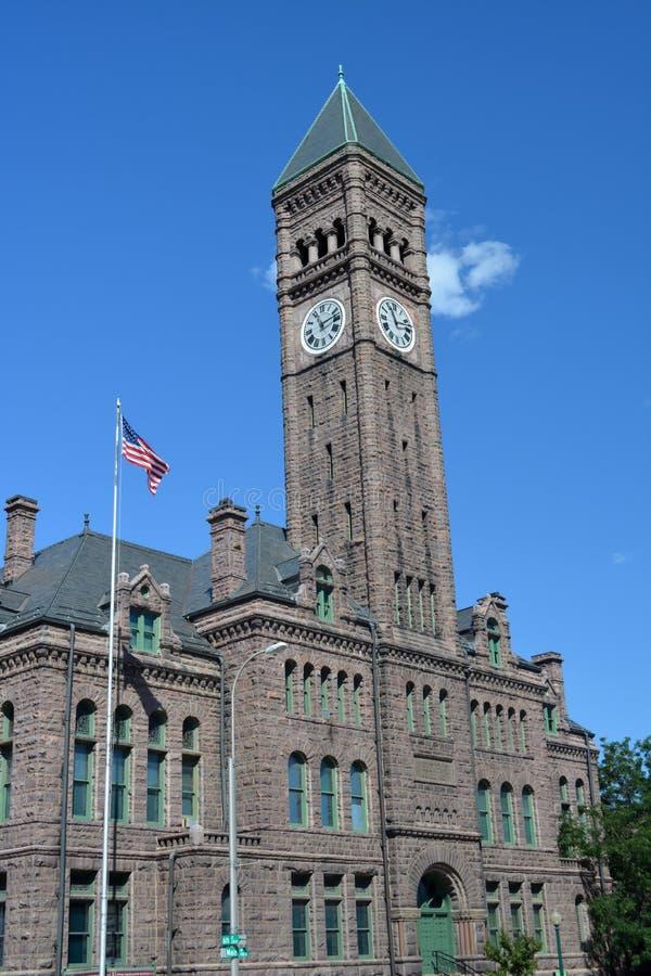 老明尼哈哈县法院大楼南达科他 免版税库存图片