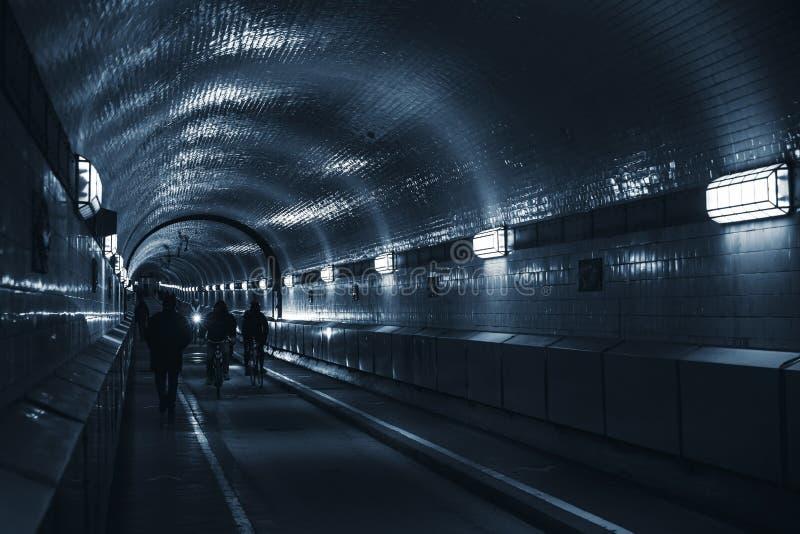 老易北河隧道,汉堡,德国 免版税库存照片
