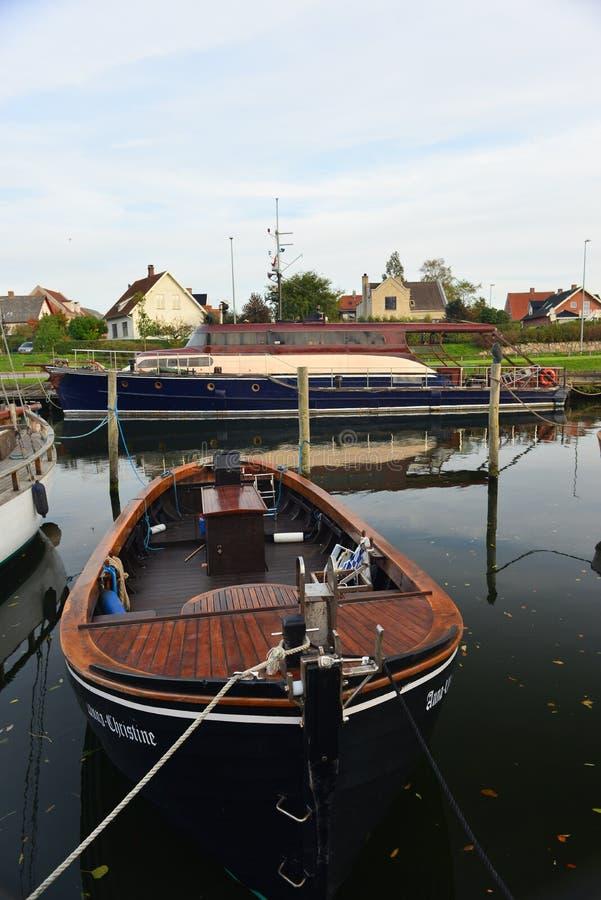 老木丹麦小船在Nakskov,丹麦 免版税库存图片