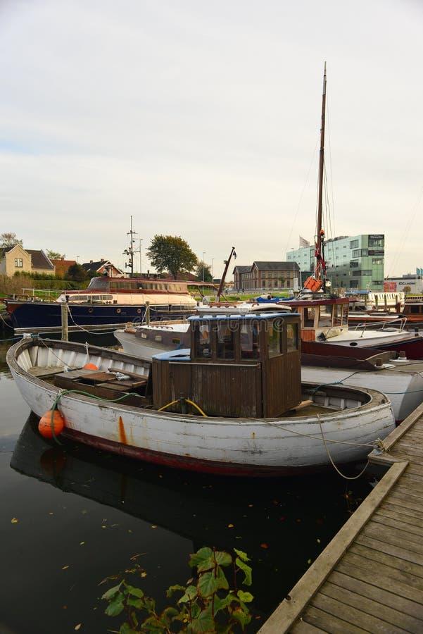 老木丹麦小船在Nakskov,丹麦 免版税库存照片