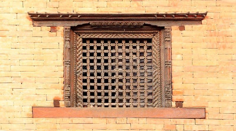 老木传统尼泊尔窗口细节 尼泊尔 库存图片