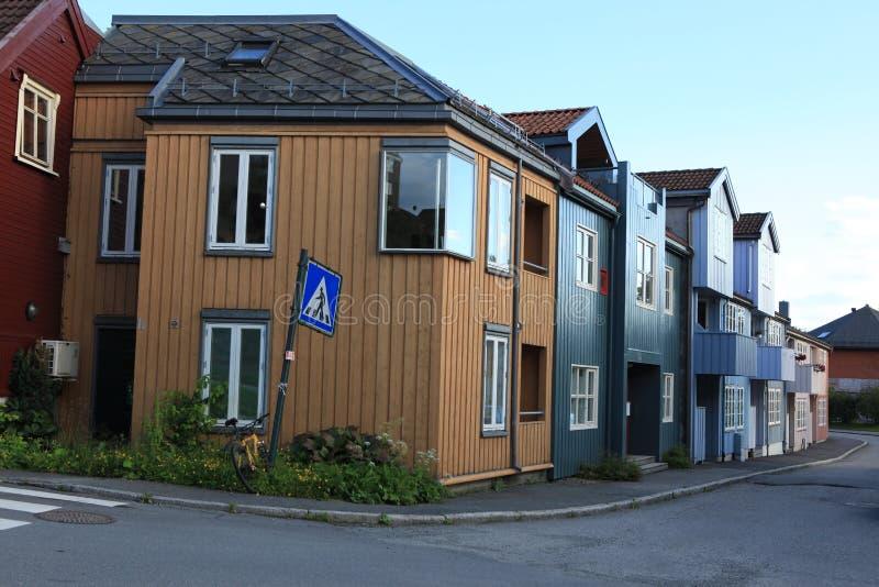 老木房子在特隆赫姆 免版税库存图片