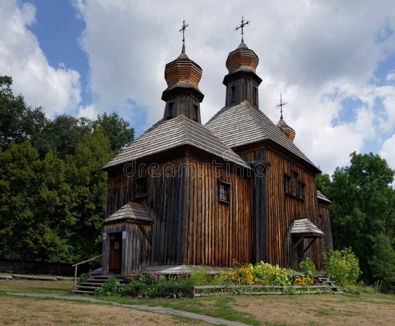 老木教会在Pirogovo,基辅,乌克兰 库存图片