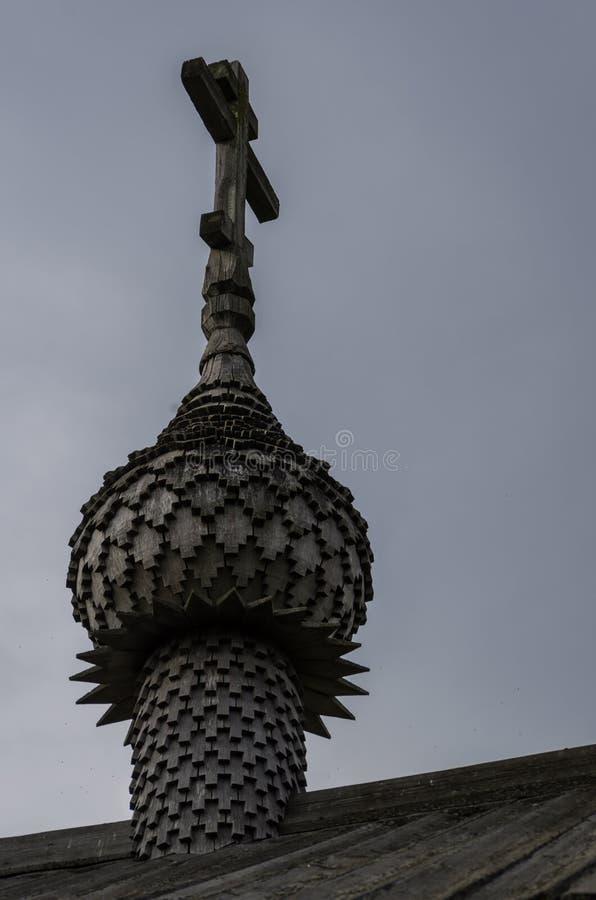 老木教会,教堂圣洁面孔,基日岛海岛,卡累利阿圆顶  免版税库存照片