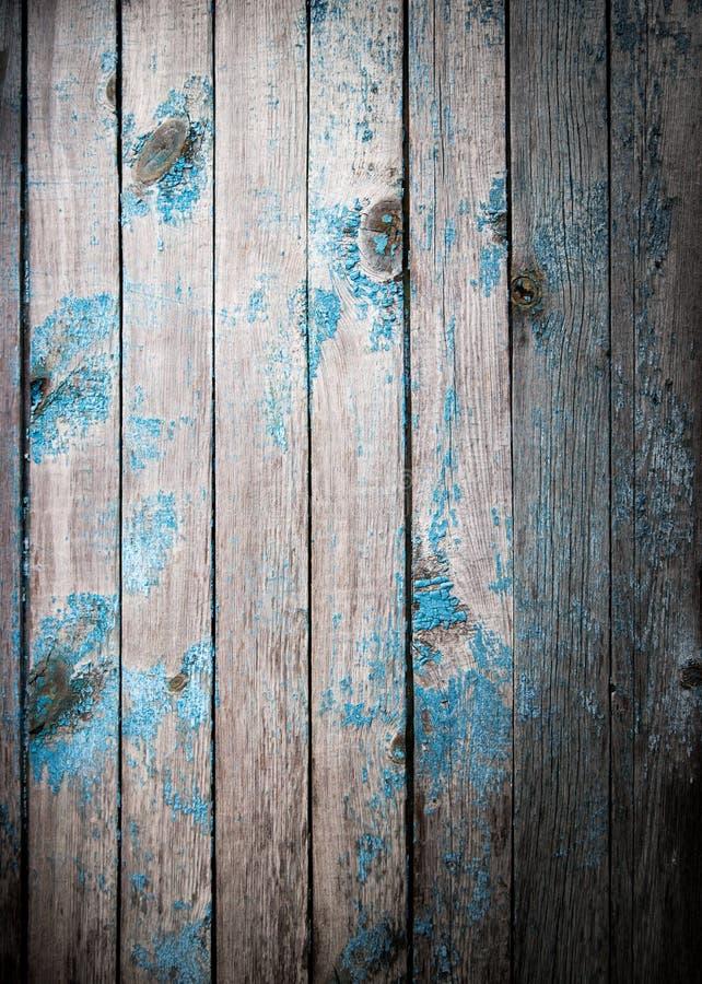 老木板绘与蓝色油漆 库存照片
