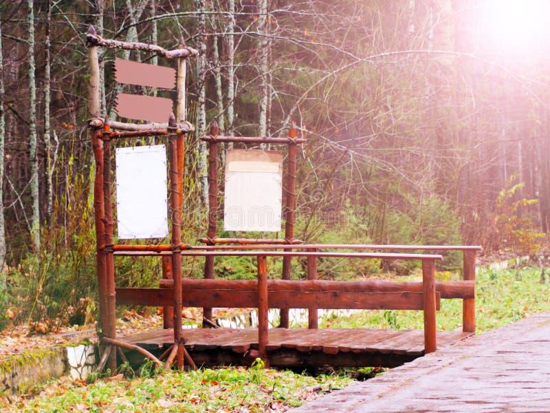 老木桥在深森林,自然葡萄酒背景里 免版税库存照片