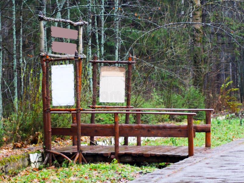 老木桥在深森林,自然葡萄酒背景里 库存照片
