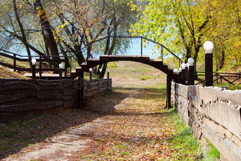 老木桥在深森林,自然葡萄酒背景里 免版税库存图片