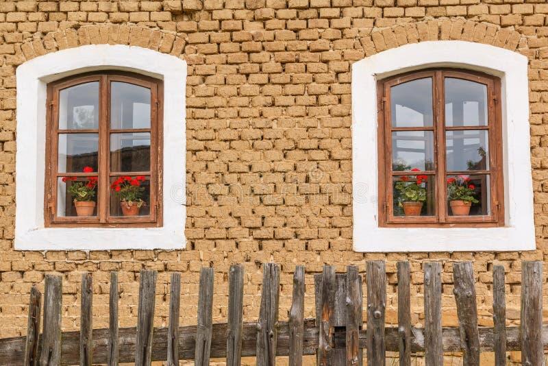 老木窗口细节与花的 免版税库存照片