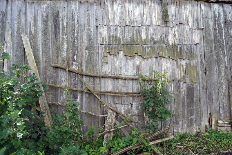 老木遗弃谷仓墙壁背景 库存图片