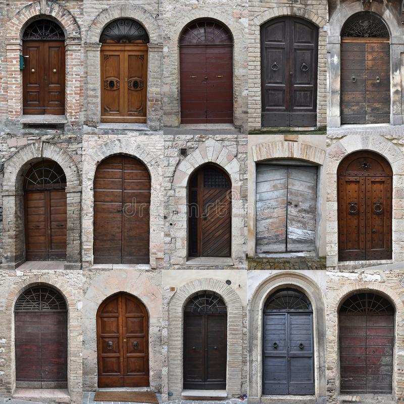 老木门在意大利,拼贴画 免版税库存照片