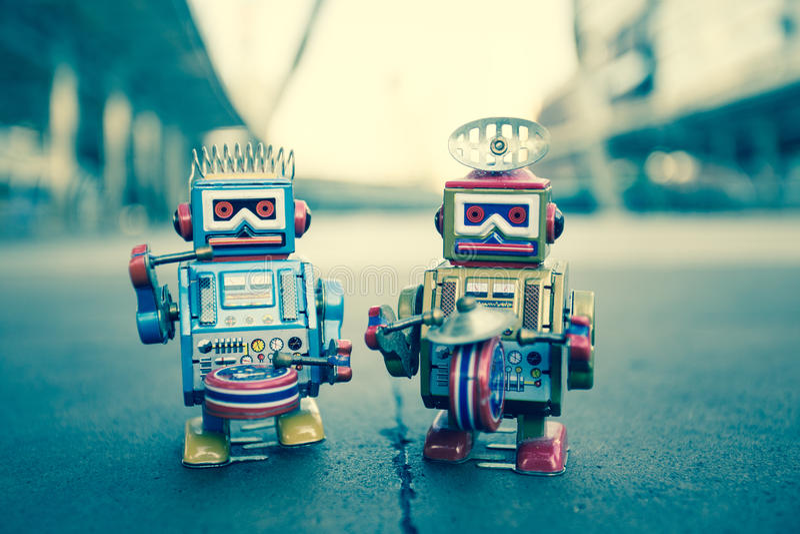 老机器人玩具 库存图片