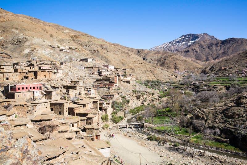 老村庄在阿特拉斯山脉 库存图片