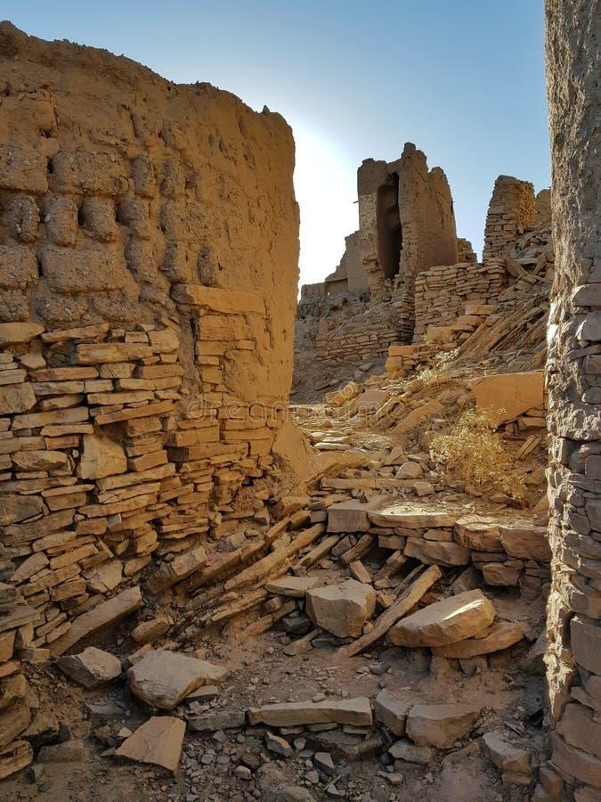 老村庄废墟在阿曼 库存照片