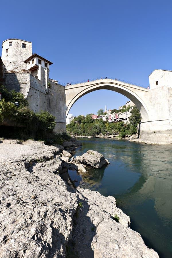 老桥梁、莫斯塔尔、波斯尼亚和黑塞哥维那 免版税图库摄影