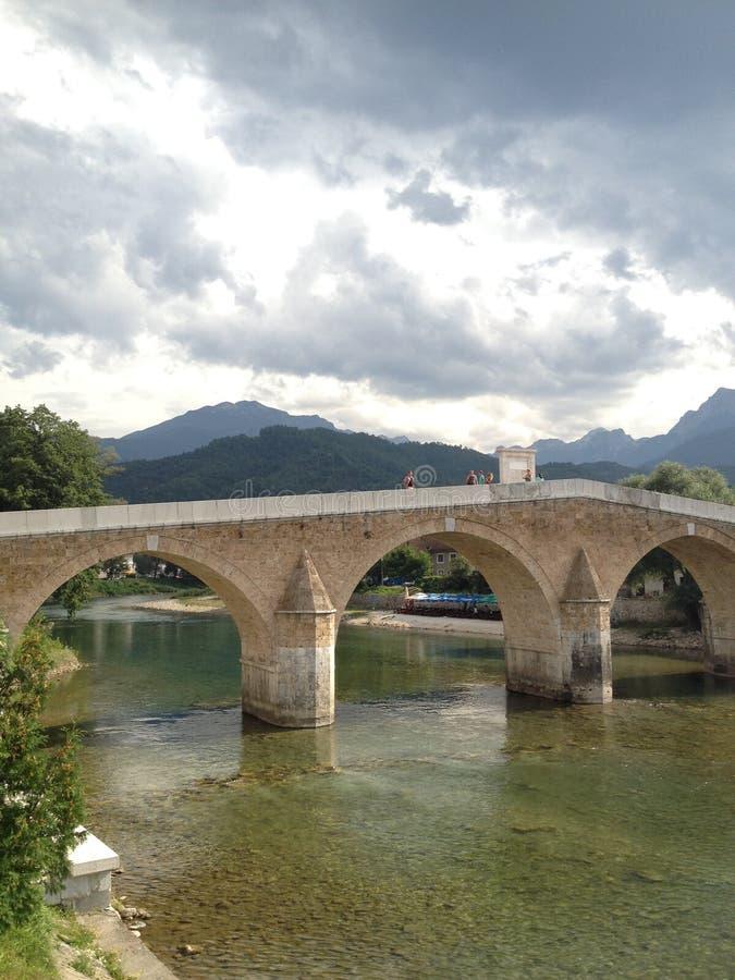 老桥梁在科尼茨,波黑 免版税库存照片