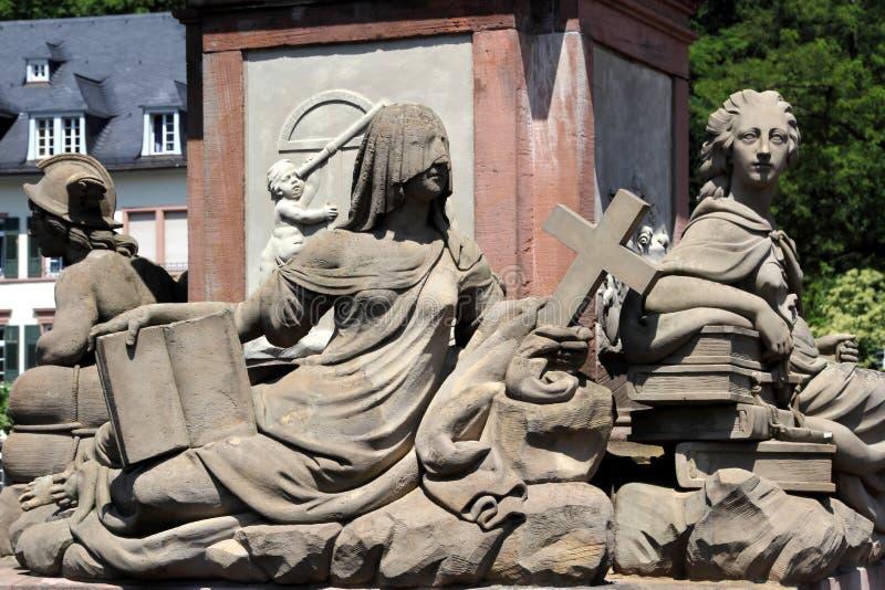 老桥梁纪念碑在海得尔堡,德国 库存照片