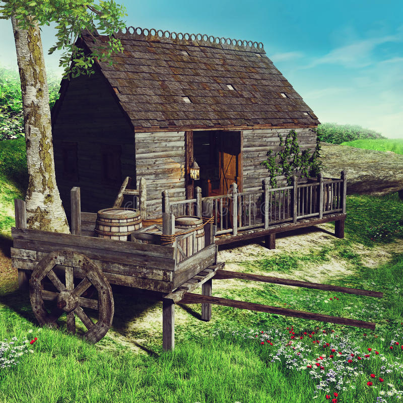 老棚子和一个木推车 库存例证