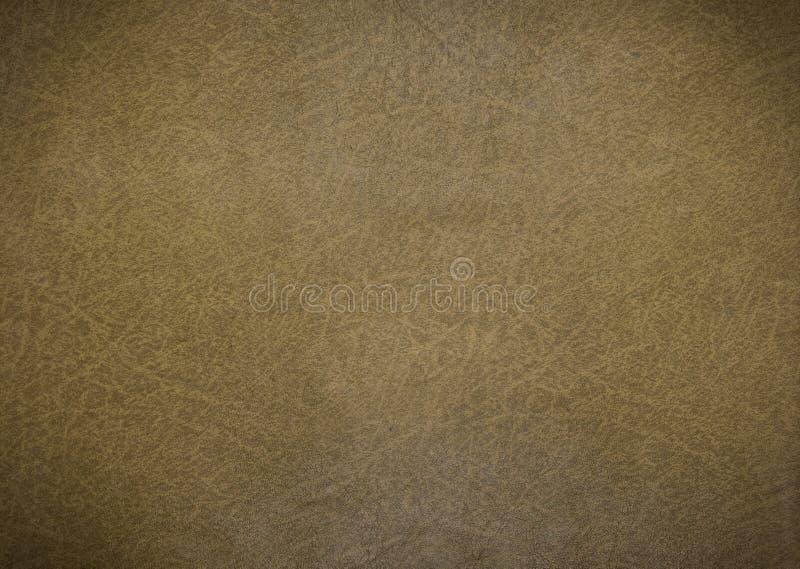 老橄榄色的皮革纹理特写镜头和样式背景 免版税库存图片