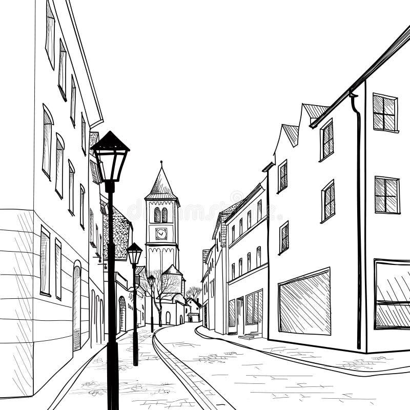 老欧洲镇街道。 库存例证