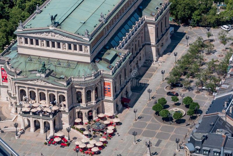 老歌剧(Alte操作)法兰克福德国空中视图 免版税图库摄影
