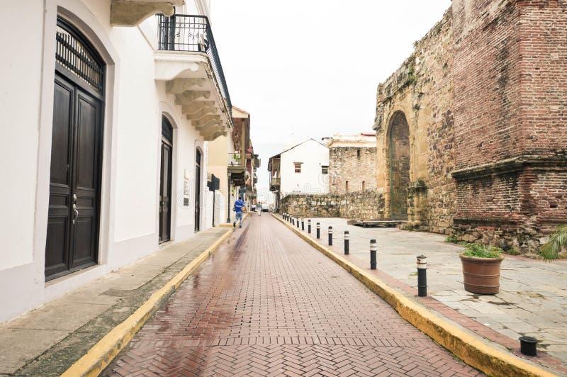 老殖民地Casco Viejo区在巴拿马市,巴拿马,中心 库存图片