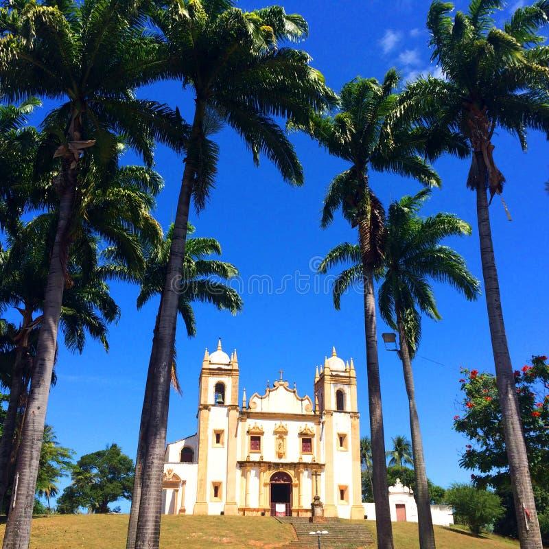 老殖民地Chruch在累西腓,巴西 图库摄影