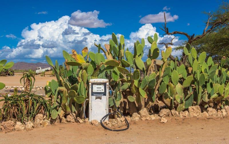 老气泵在纳米比亚沙漠,单粒宝石,纳米比亚 免版税库存图片
