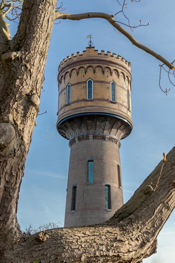 老水塔在武尔登,荷兰 库存图片