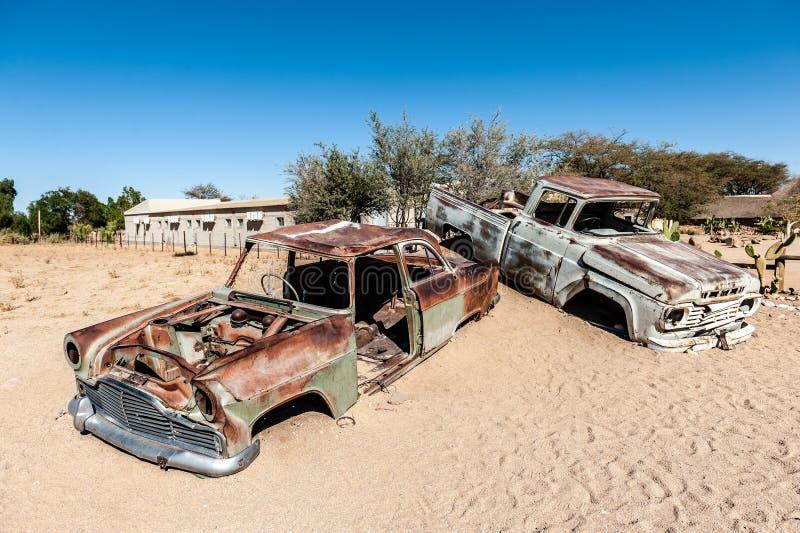 老汽车击毁在纳米比亚 免版税库存图片