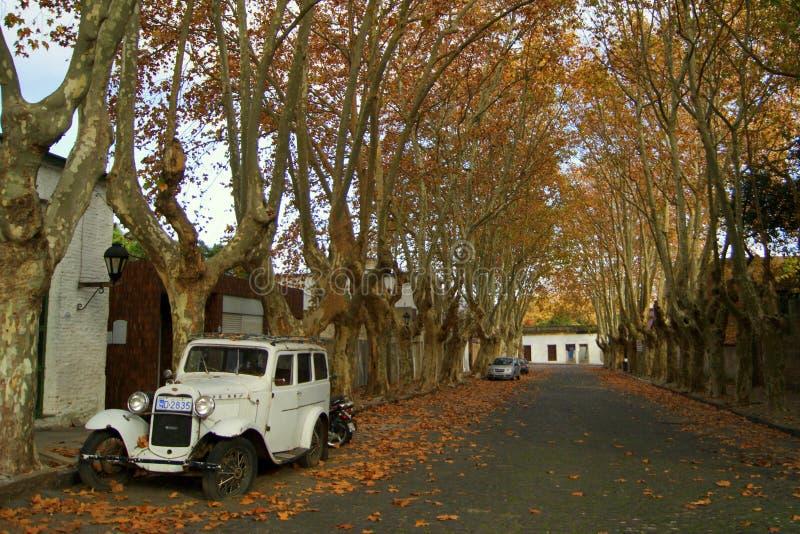 老汽车在科洛尼亚德尔萨克拉门托/乌拉圭 库存照片