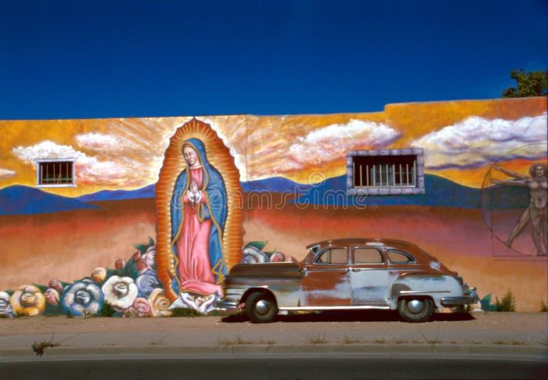 老汽车壁画 库存照片